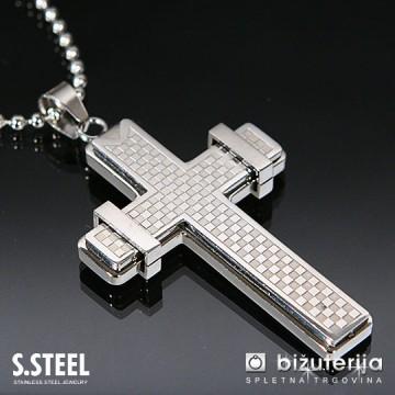 FAITH Velik srebrn križ z verižico iz kirurškega jekla 60 x 28 mm C-112