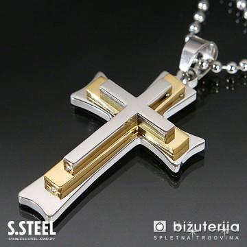 TRIPLE CROSS GOLD Obesek križ iz kirurškega jekla z verižico 45x 30 mm C-167