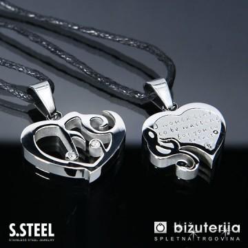 MELODY SILVER Srce z violinskim ključem - Srebrna obeska za zaljubljene iz kirurškega jekla P-242