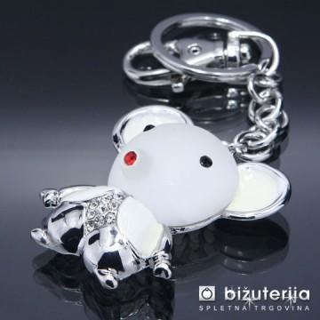 WHITE TEDDY BEAR - Modni obesek za ključe OK-116