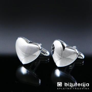 SILVER HEART Srebrni moški manšetni gumbi v obliki srca M-118