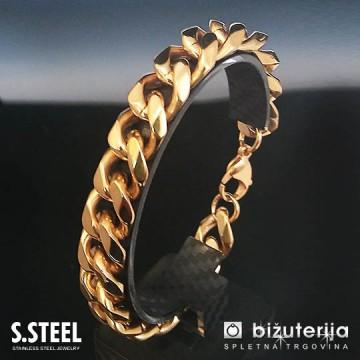 MAMBA GOLD Masivna široka zlata moška zapestnica  15 x 220 mm  M-608